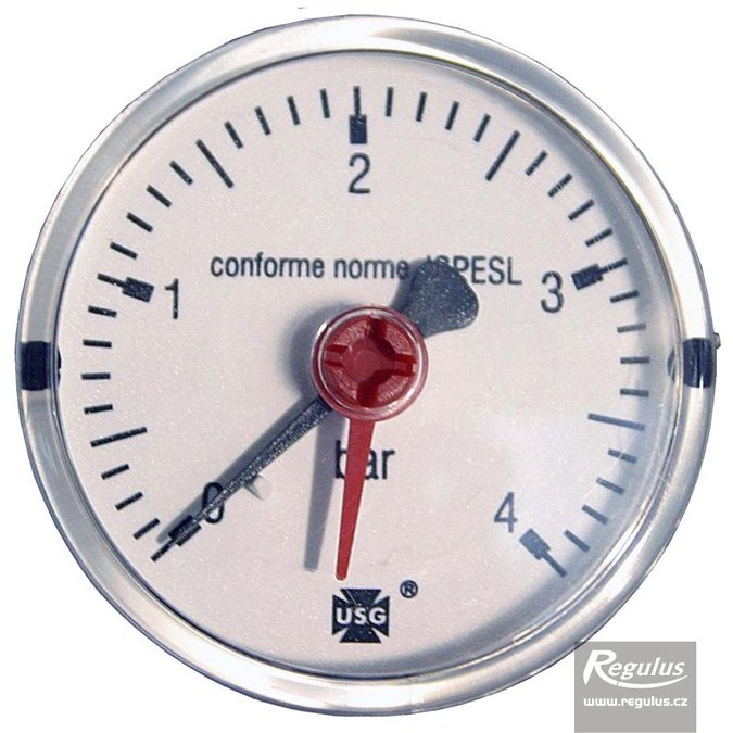 "Photo: Pressure gauge, 4 bar, d=63mm, G 1/4"", rear conn."