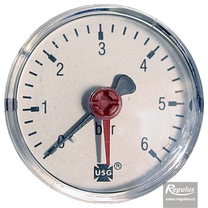 "Photo: Pressure gauge, 6 bar, d=63mm, G 1/4"", rear connection"
