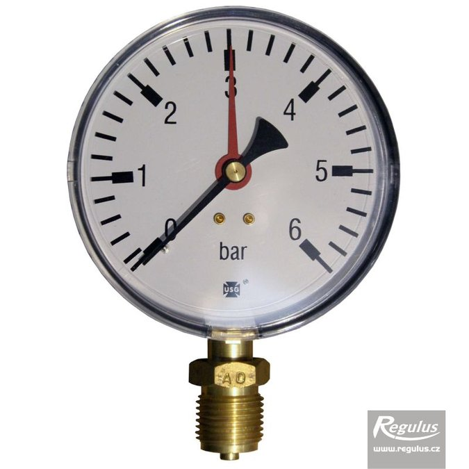 "Photo: Pressure gauge, 6 bar, d=100mm, G1/2"",  bottom connection"