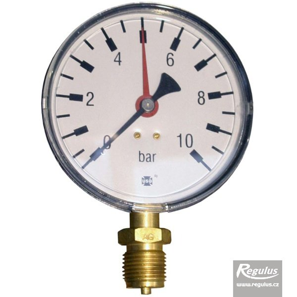 "Photo: Pressure gauge, 10 bar, d=100mm, G1/2"",  bottom connection"