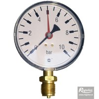 "Picture: Pressure gauge, 10 bar, d=100mm, G1/2"",  bottom connection"
