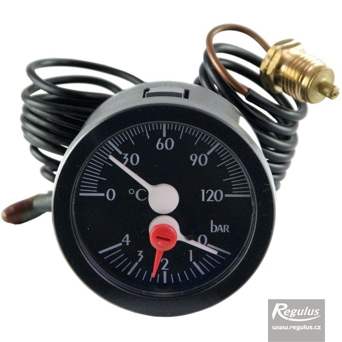 Photo: Thermomanometer, 0-120°C, 4 bar, 1m capillary, d=57.5 mm, black