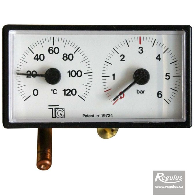 Photo: Thermomanometer, 0-120°C, 6 bar, 1m capillary, 42x78 mm