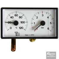 Picture: Thermomanometer, 0-120°C, 6 bar, 1m capillary, 42x78 mm