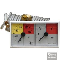 Picture: Thermomanometer, 0-120°C, 4 bar, 1m capillary, 42x78 mm, white