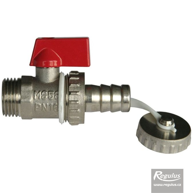 "Photo: Drain Valve, G 1/2"" M, red metal handle"