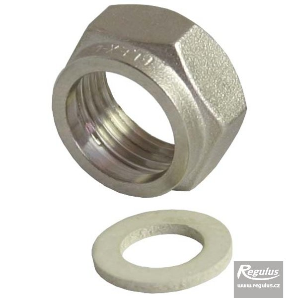 "Photo: 1/2"" Nut+gasket - nickel-plated brass"