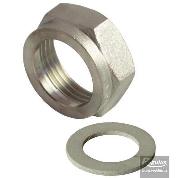 "Photo: 1"" Nut+gasket - nickel-plated brass"