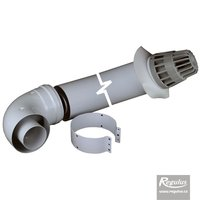 Picture: 60/100 mm Horizontal Flue Kit, flangeless elbow, conical grille