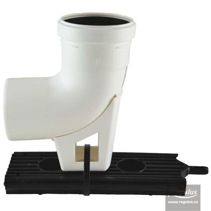 Photo: 80 mm 90° Elbow, incl. plastic support, PP
