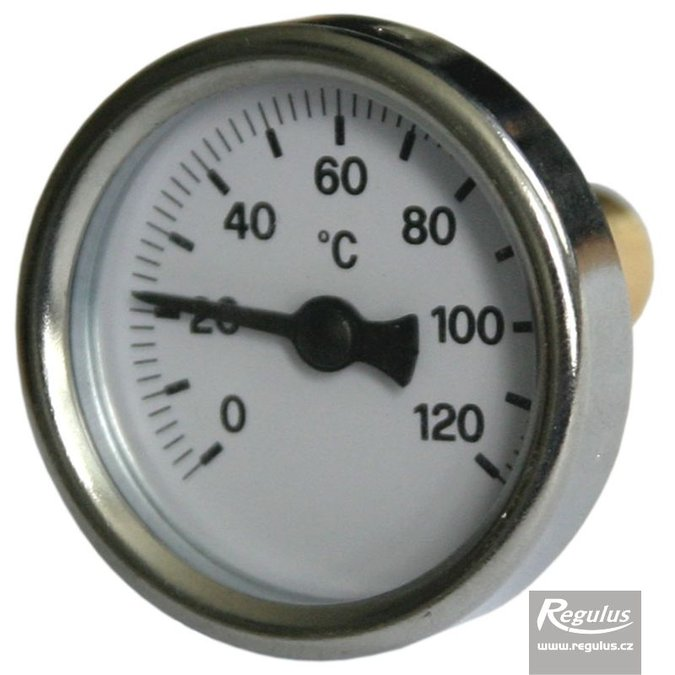"Photo: 0-120°C Thermometer, with sheath (l= 30, 3/8""), rear, d=40 mm"