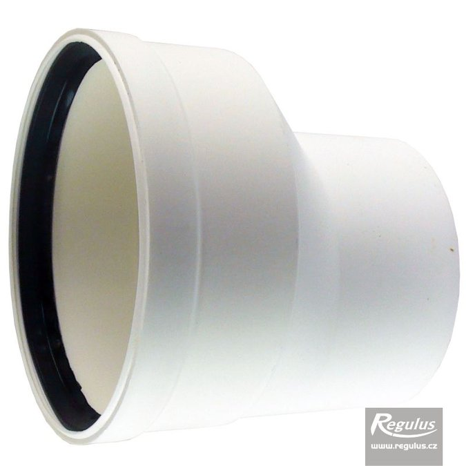 Photo: 100 to 125 mm Eccentric Flue Adapter, M/F, PP, horizontal