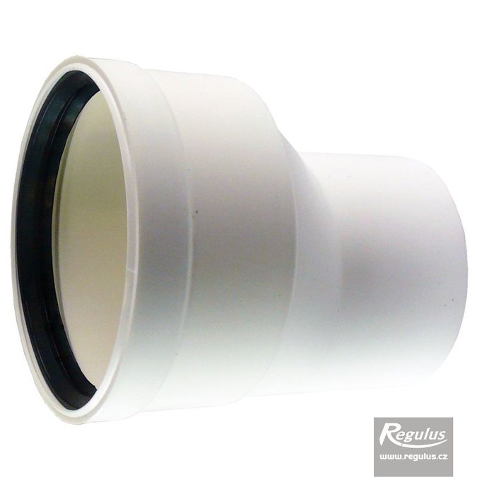 Photo: 80 to 100 mm Eccentric Flue Adapter, M/F, PP, horizontal