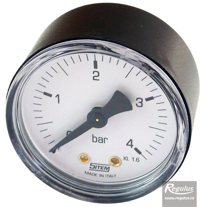 "Photo: Pressure gauge, 4 bar, G 1/4"" rear conn., d= 50 mm, no red needle"