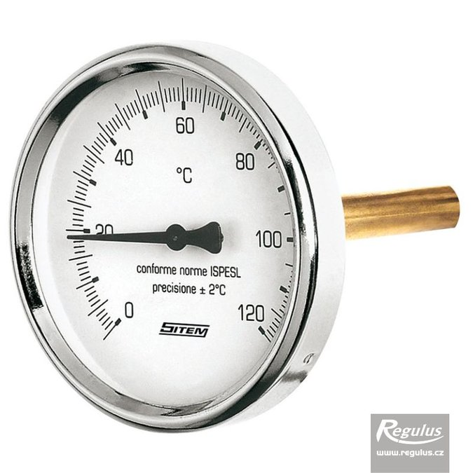 "Photo: 0-120°C Thermometer, sheath l=45, 1/2"", d=63mm, rear conn."