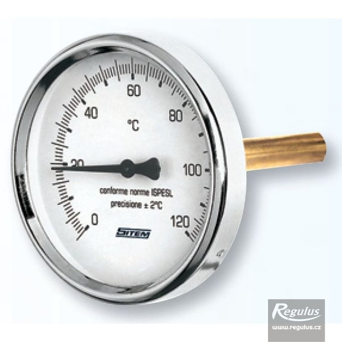 "Photo: 0-120°C Thermometer, sheath l=150, 1/2"", d=63mm, rear conn."