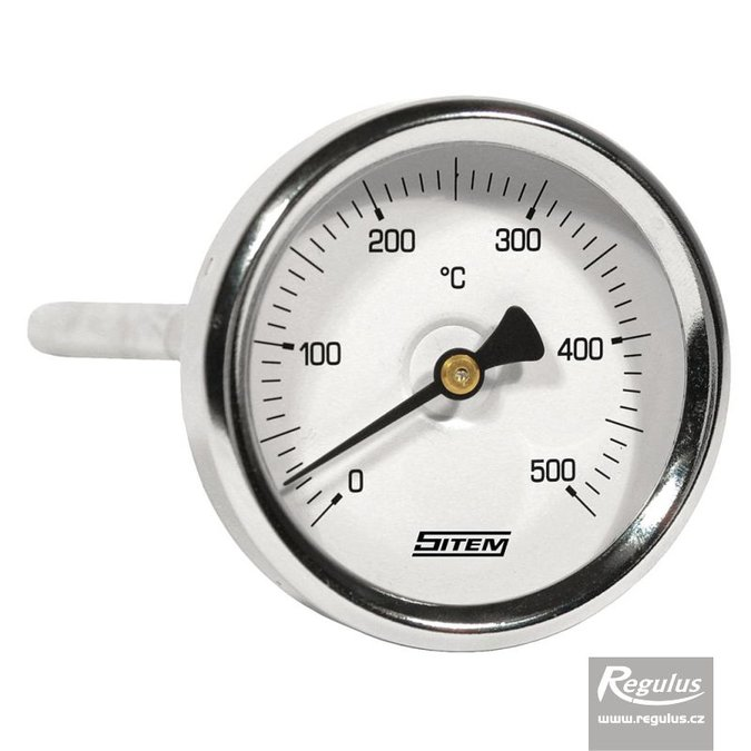 Photo: 0-500°C Stem-type thermometer, stem l=100, 9mm diam., d=63mm, rear c