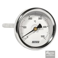 Picture: 0-500°C Stem-type thermometer, stem l=100, 9mm diam., d=63mm, rear c