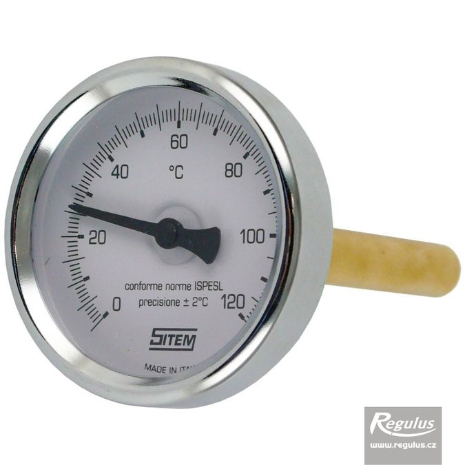 "Photo: 0-120°C Thermometer, with sheath (l= 100, 1/2""), rear, d=63 mm"