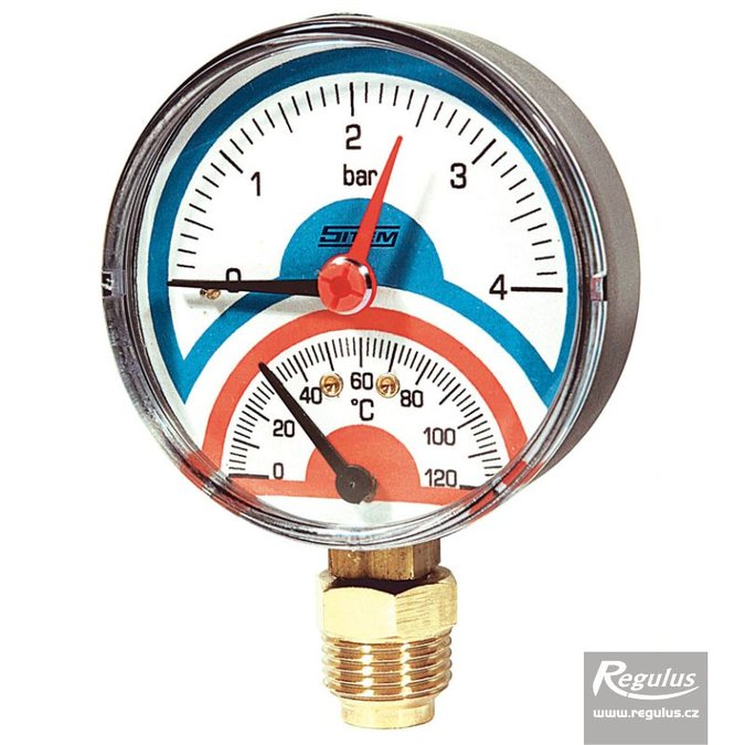 "Photo: Thermomanometer 0-120°C, 4bar, d=80mm, G1/2"", bottom conn."