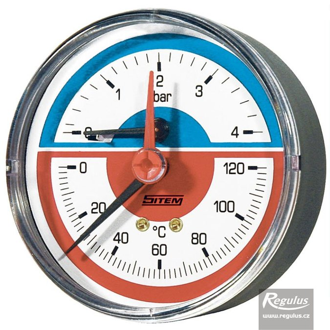 "Photo: Thermomanometer 0-120°C, 4bar, d=80 mm, G1/2"", rear conn."