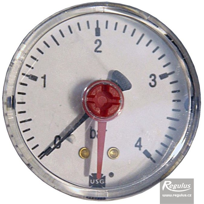"Photo: Pressure gauge, 4 bar, d=50mm, G 1/4"", rear connection"