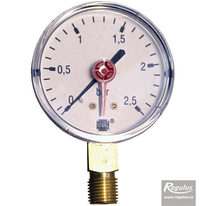 "Photo: Pressure gauge, 2.5 bar, d=63mm, G 1/4"", bottom conn."