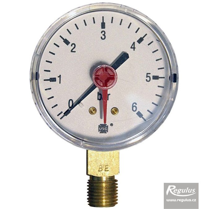 "Photo: Pressure gauge, 6 bar, d=63mm, G 1/4"", bottom conn."